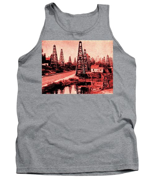 Tank Top featuring the drawing Red Indiana Oil Wells Circa 1900 by Peter Gumaer Ogden