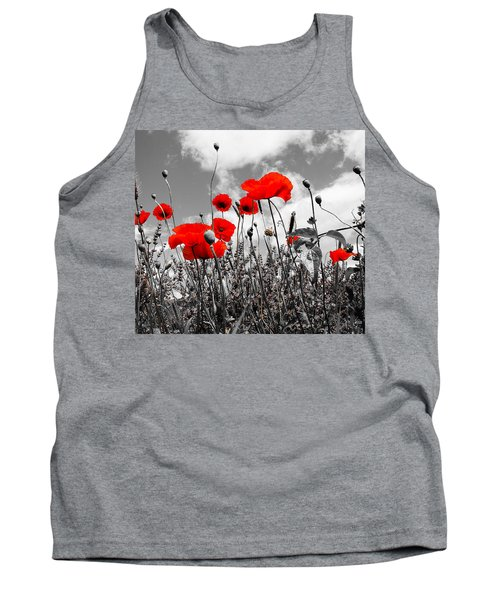 Red Poppies On Black And White Background Tank Top