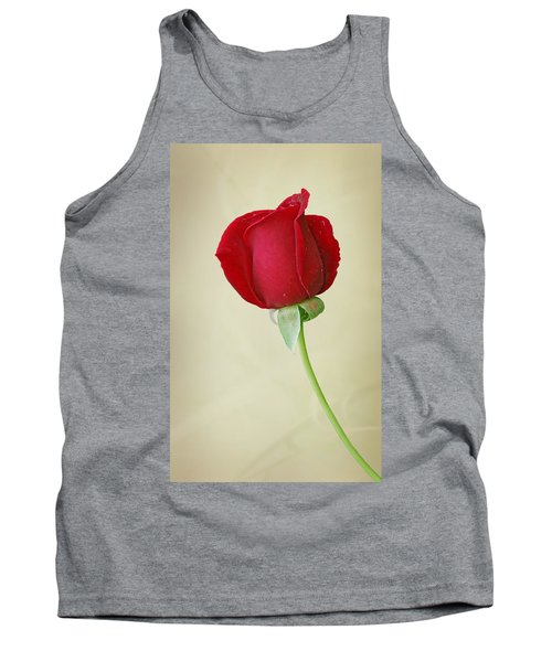 Red Rose On White Tank Top by Sandy Keeton