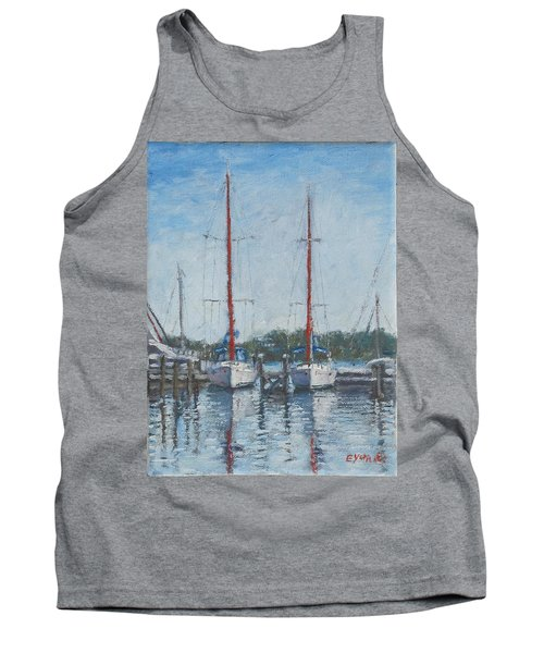 Red Sails Under Gray Sky Tank Top