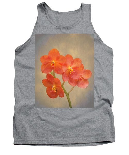 Red Scarlet Orchid On Grunge Tank Top