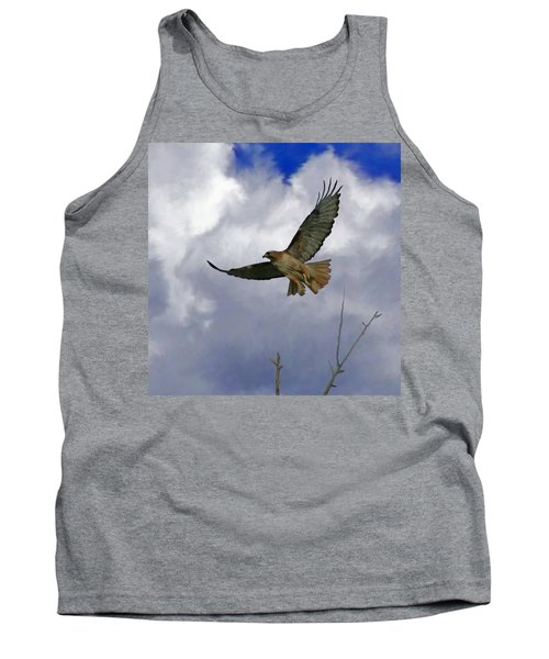 Red Tail Hawk Digital Freehand Painting 1 Tank Top