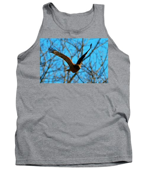 Tank Top featuring the photograph Red Tail Hawk In Flight by Peggy Franz
