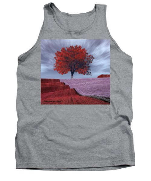 Tank Top featuring the painting Red Tree In A Field by Bruce Nutting