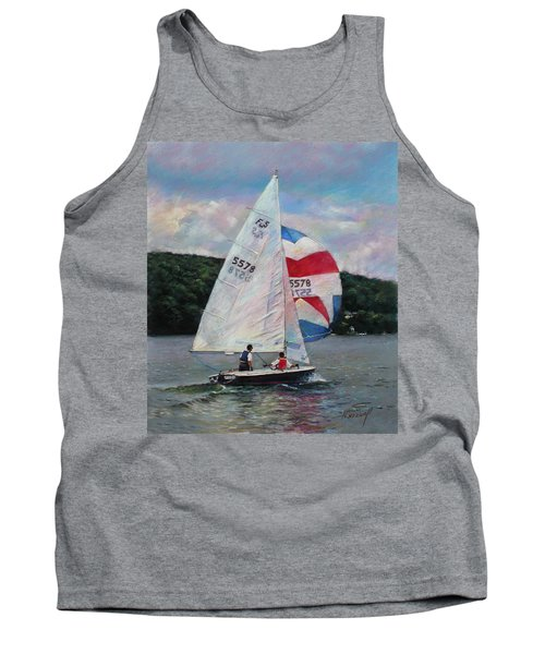 Tank Top featuring the drawing Red White And Blue Sailboat by Viola El