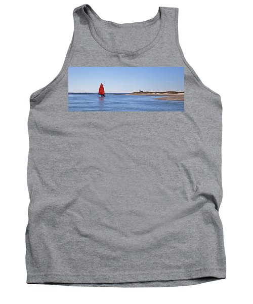 Ripple Catboat With Red Sail And Lighthouse Tank Top
