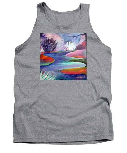 Tank Top featuring the painting Blue Bayou by Elizabeth Fontaine-Barr