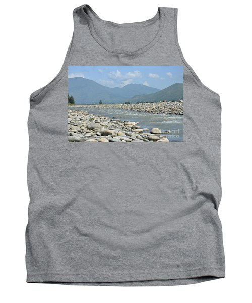 Riverbank Water Rocks Mountains And A Horseman Swat Valley Pakistan Tank Top