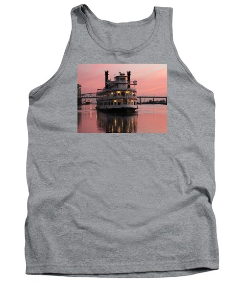 Tank Top featuring the photograph Riverboat At Sunset by Cynthia Guinn