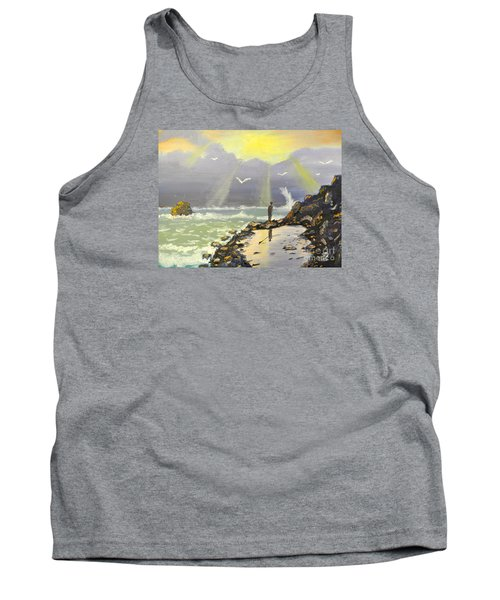 Tank Top featuring the painting Rock Fishing At Wombarra  by Pamela  Meredith