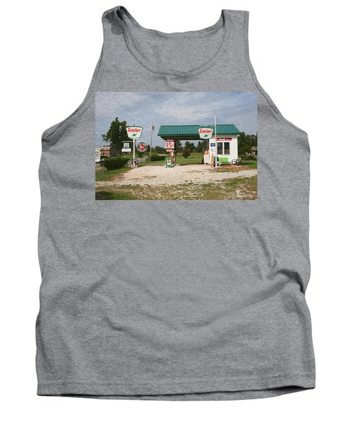 Route 66 Gas Station With Sponge Painting Effect Tank Top