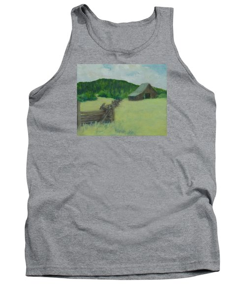 Rural Landscape Colorful Oil Painting Barn Fence Tank Top by Elizabeth Sawyer