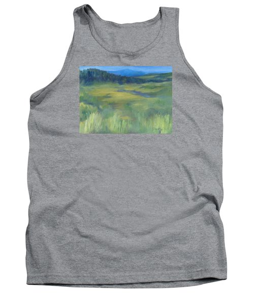 Rural Valley Landscape Colorful Original Painting Washington State Water Mountains K. Joann Russell Tank Top by Elizabeth Sawyer