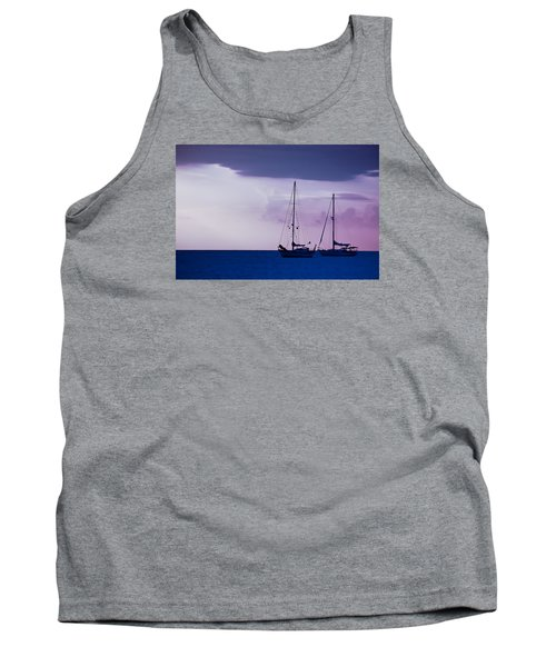 Tank Top featuring the photograph Sailboats At Sunset by Don Schwartz