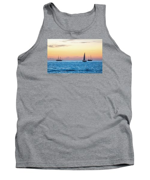 Sailboats At Sunset Off Key West Florida Tank Top by Photographic Arts And Design Studio