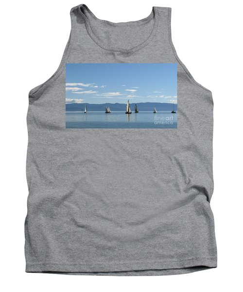 Sailboats In Blue Tank Top
