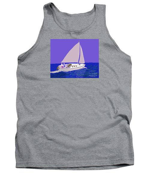 Sailing Blue Ocean Tank Top by Fred Jinkins
