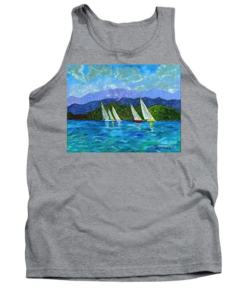 Tank Top featuring the painting Sailing by Laura Forde