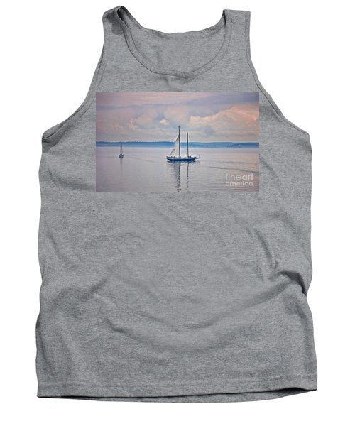 Tank Top featuring the photograph Sailing On A Misty Morning Art Prints by Valerie Garner