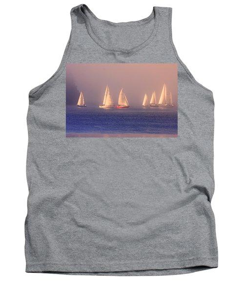 Sailing On A Misty Ocean Tank Top