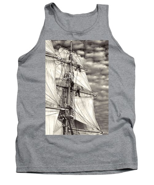 Sailors In Rigging Of Tall Ship Tank Top