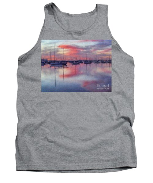 Tank Top featuring the digital art San Diego - Sailboats At Sunrise by Lianne Schneider