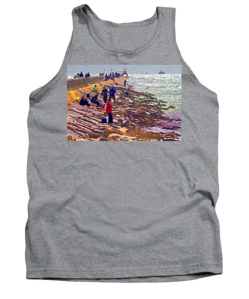 Tank Top featuring the photograph Saturday Morning On The Surfside Jetty by Gary Holmes