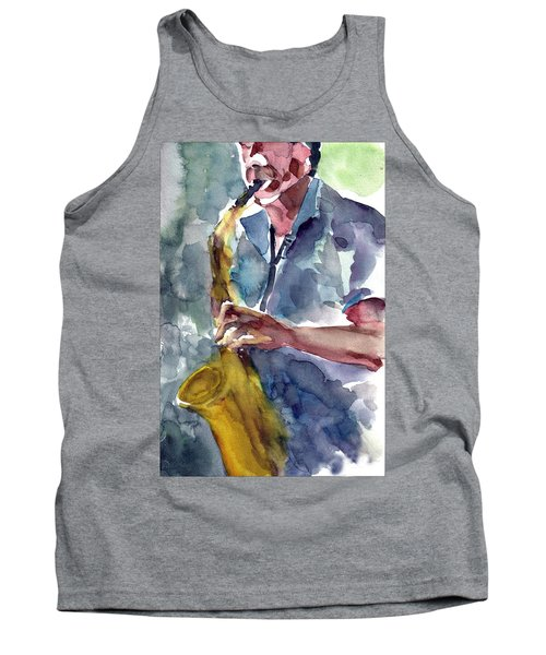 Tank Top featuring the painting Saxophonist by Faruk Koksal