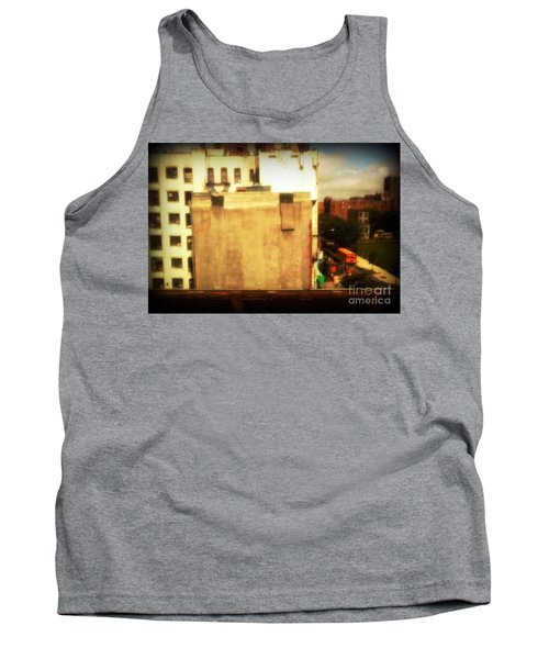 Tank Top featuring the photograph School Bus With White Building by Miriam Danar