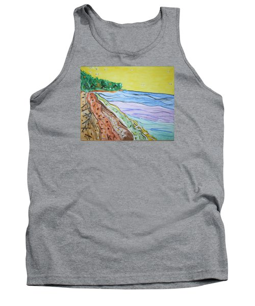 Tank Top featuring the painting Seashore Bright Sky by Stormm Bradshaw