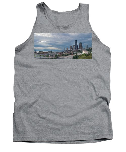 Tank Top featuring the photograph Seattle Downtown Skyline And Freeway Panorama by JPLDesigns