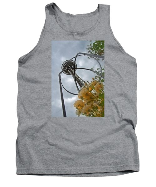Tank Top featuring the photograph Seattle Spaceneedle With Watercolor Effect Yellow Roses by Valerie Garner