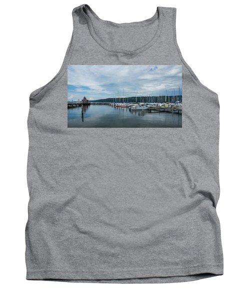 Seneca Lake Harbor - Watkins Glen - Wide Angle Tank Top by Photographic Arts And Design Studio