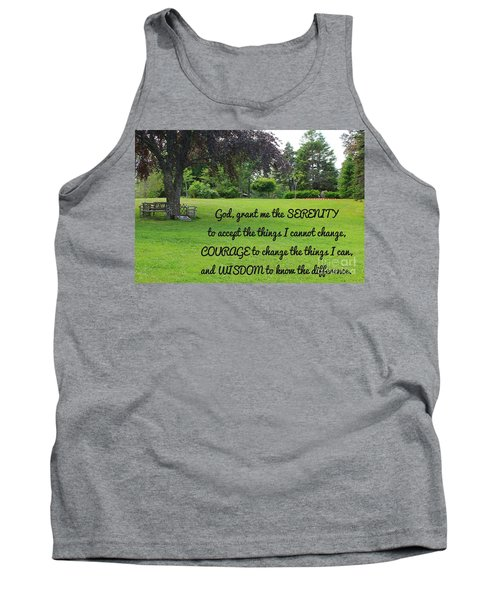 Serenity Prayer And Park Bench Tank Top