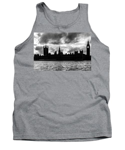Silhouette Of  Palace Of Westminster And The Big Ben Tank Top