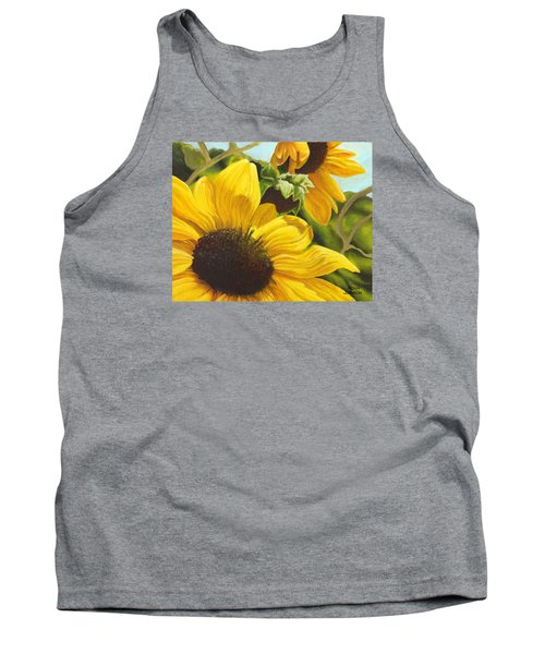 Silver Leaf Sunflowers Tank Top