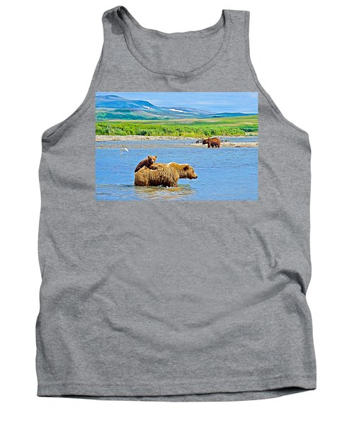 Six-month-old Cub Riding On Mom's Back To Cross Moraine River In Katmai National Preserve-alaska Tank Top