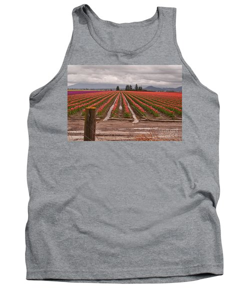 Tank Top featuring the photograph Skagit Valley Tulip Farmlands In Spring Storm Art Prints by Valerie Garner