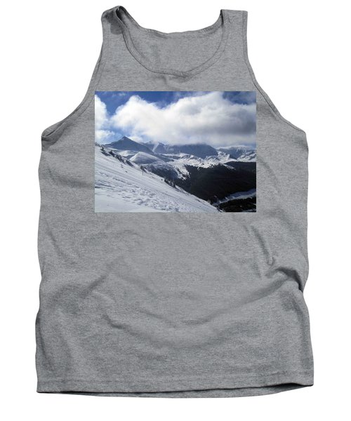 Skiing With A View Tank Top by Fiona Kennard