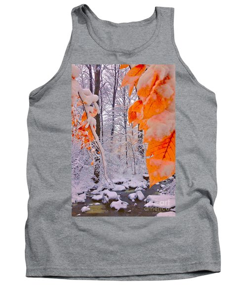 Snow Covered Woods And Stream Tank Top