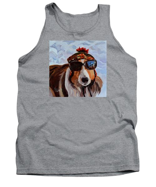 Tank Top featuring the painting Snow Dog by Pattie Wall