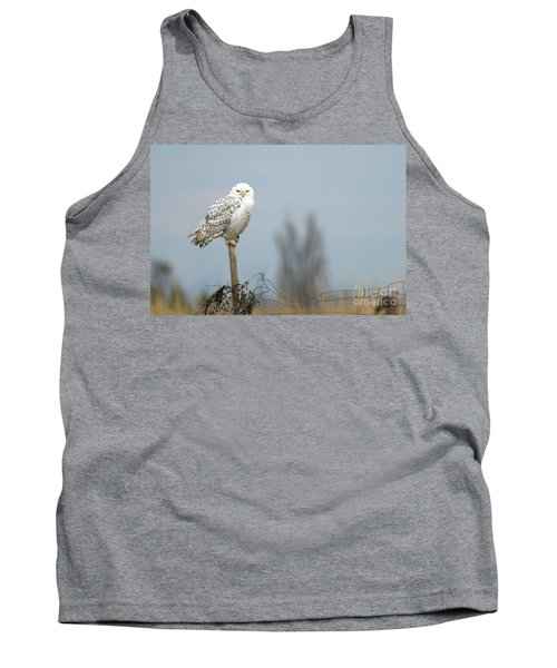 Snowy Owl On Fence Post 2 Tank Top