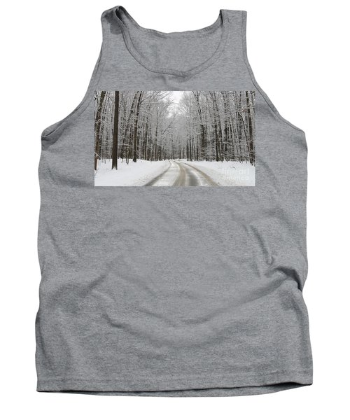 Snowy Road In Oak Openings 7058 Tank Top