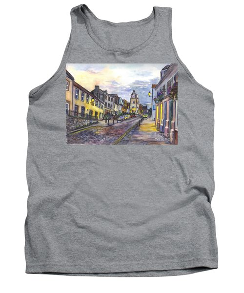Tank Top featuring the painting Nightfall At South Queensferry Edinburgh Scotland At Dusk by Carol Wisniewski