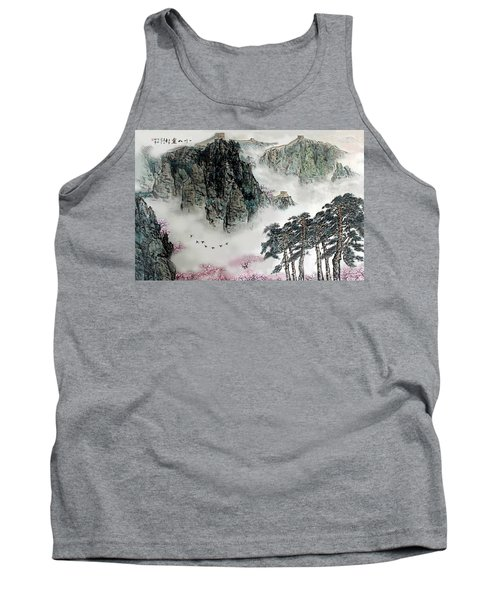 Spring Mountains And The Great Wall Tank Top by Yufeng Wang