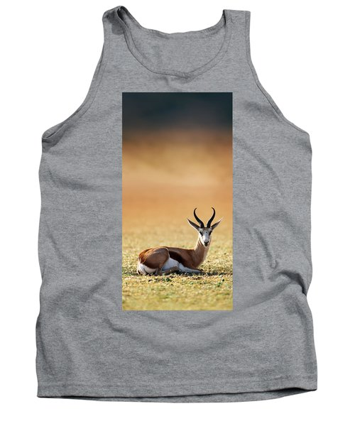 Springbok Resting On Green Desert Grass Tank Top