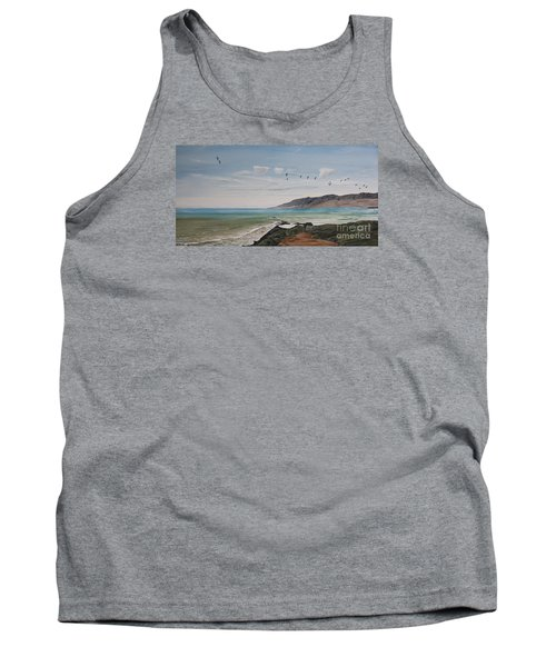 Squadron Of Pelicans Central Califonia Tank Top by Ian Donley