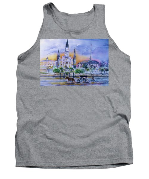 Tank Top featuring the painting St. Charles New Orleans Sunset by Bernadette Krupa