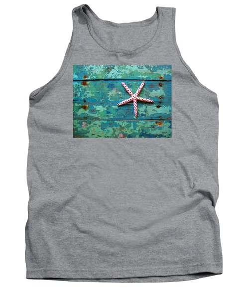 Seashore Peeling Paint - Starfish And Turquoise Tank Top by Rebecca Korpita