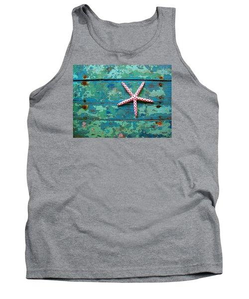 Seashore Peeling Paint - Starfish And Turquoise Tank Top